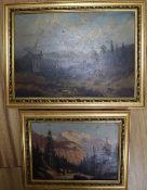 German School (19th century), two Alpine scenes, oil on panel, 20 x 29cm and 14 x 20cm