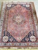 A Hamadan rose ground rug, 170 x 132cm
