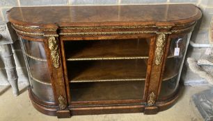 A Victorian gilt metal mounted figured walnut credenza, width 170cm, depth 48cm, height 94cm