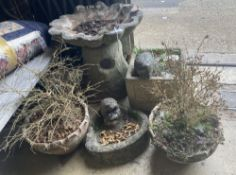 A reconstituted stone shell bird bath, one other, three planters and a hedgehog, tallest 52cm