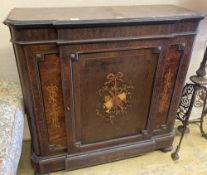 A 19th century French marquetry inlaid amboyna breakfront side cabinet, width 114cm, depth 40cm,