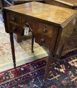 A Regency mahogany drop-leaf writing table, width 54cm, depth 46cm, height 76cm