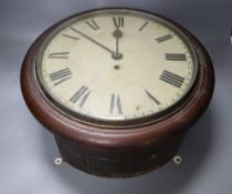 A late Victorian oak cased wall clock, with single fusee movement, with pendulum, dial 28cm