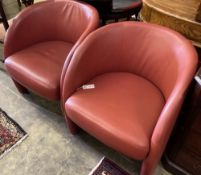 A pair of Italian design red leather tub chairs, c. 1980, width 60cm