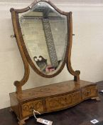 An Edwardian marquetry inlaid satinwood toilet mirror, width 48cm, height 62cm