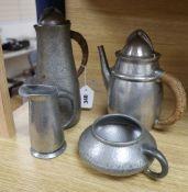 A Liberty Tudric pewter four piece tea set, no.0232