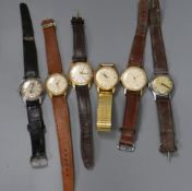 Six assorted gentleman's wrist watches including Poljot and MuDu.