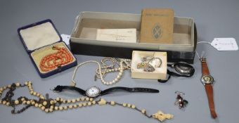 A collection of costume jewellery and miscellaneous items, comprising two rosaries, a paste-set '