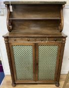 A Regency rosewood chiffonier of small proportions, width 89cm, depth 35cm, height 139cm