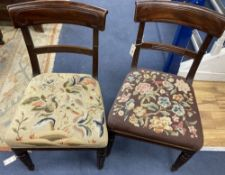 A set of eight William IV mahogany dining chairs, on turned fluted legs