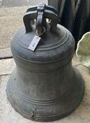 A large Victorian cast bronze bell marked Thomas Mears of London, Founded 1866 (no clapper),