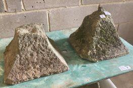A pair of granite plinths, c.1900, width 32cm