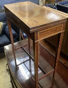 An Edwardian satinwood banded mahogany folding card table, width 53cm, depth 26cm, height 65cm