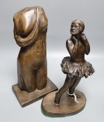 Ian Milner (d. 2020). A bronze figure, 'Little Ballerina' and a bronzed resin figure of a draped