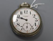 A chrome cased keyless pocket watch, the dial inscribed 'Rolex Watch Co. Marconi', with Arabic