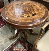 A Victorian circular specimen wood tilt top tea table, 72cm diameter, height 72cm