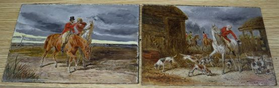 19th century English School, pair of oils on millboard, Hunting scenes, 15 x 22.5cm, unframed