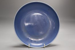 A Chinese blue glazed dish