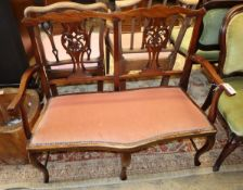 An early 20th century mahogany chair back settee, W.107cm, D.50cm, H.93cm