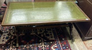 A Georgian style mahogany coffee table fitted leather skiver, width 114cm, depth 61cm, height 51cm