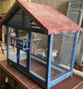 A French painted wirework bird cage, width 102cm, height 96cm