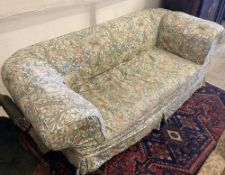 An early 20th century drop arm Chesterfield settee with Morris fabric loose cover, width 185cm,