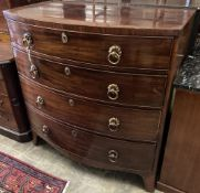 A George IV mahogany bow front chest, width 100cm, depth 54cm, height 104cm