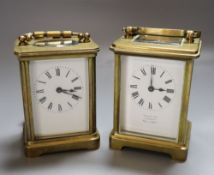 Two French brass carriage timepieces