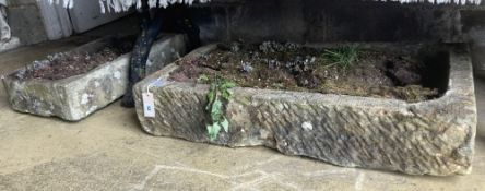 Two stone granite troughs, largest 86 x 50cm
