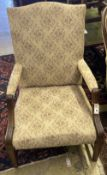 A mahogany 'Gainsborough' style open armchair, width 65cm, height 98cm
