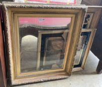 A Victorian gilt gesso picture frame, 89 x 104cm, one other and a print