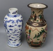 A Chinese famille rose crackle glaze vase and a Chinese blue and white dragon vase, tallest 34cm
