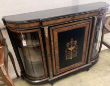 A late Victorian gilt metal mounted ebonised and bird's eye maple credenza, width 148cm, depth 36cm,