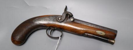 A 19th century percussion cap pistol, walnut stock