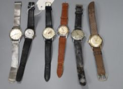 Six assorted gentleman's mainly steel wrist watches including Oris, Favre Leuba and one silver.