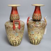 A pair of Doulton Lambeth Slater's patent vases, height 27cm
