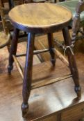 A 19th century Victorian beech and elm stool, height 52cm