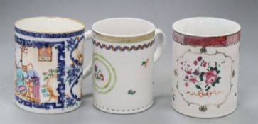 Three Chinese export famille rose mugs, Qianlong, each 13cm