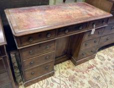 A Victorian mahogany kneehole desk, width 119cm, depth 57cm, height 76cm