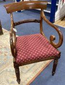 A William IV scroll arm elbow chair