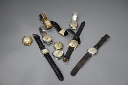 Ten assorted gentleman's wrist watches including Avia & Starlon.
