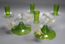 A pair of Murano green glass candelabra, each with twin sconces on clear glass branches, height