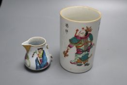 A Chinese famille rose brush pot, height 12.5cm and a similar jug