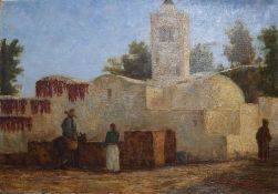 C.A. Lemont (19th C. French), oil on canvas, Figures beside a Mexican church, signed, 38 x 55cm,