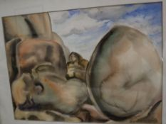 Barbara Tribe (Australian, 1913-2000), watercolour, 'Outcrop, Texas Canyon, Arizona', signed, 27 x