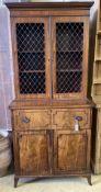 A Regency mahogany secretaire bookcase, width 94cm depth 55cm height 212cm
