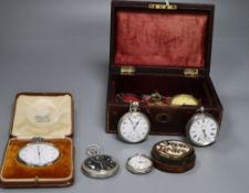 Five assorted pocket watches including military and three silver, a cased Bravington's chronoscope