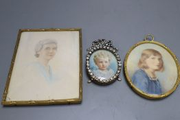 A Victorian oval portrait miniature, signed A H Hunt, height 8cm, and two other Victorian portrait