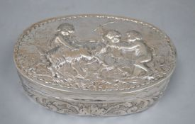 A late 19th century German Hanau embossed white metal oval box, J.D. Schleissner & Sohne, 16.2cm,