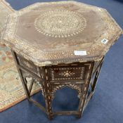 An Indian octagonal occasional table, width 61cm, height 62cm
